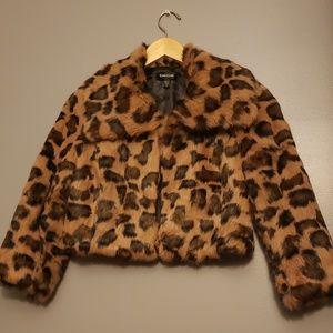 Bebe fur cropped 3/4 sleeve leopard jacket xs